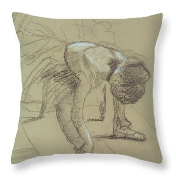 Seated Dancer Adjusting Her Shoes Throw Pillow by Edgar Degas