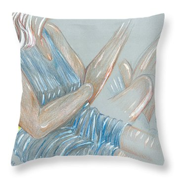 Seated Girl Smoking - Colour Detail Throw Pillow
