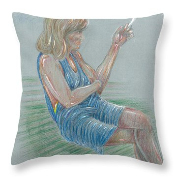 Seated Girl Smoking - Colour Study Throw Pillow