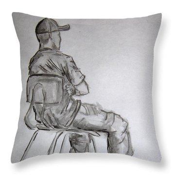 Seated Man In Ball Cap Throw Pillow by Jeffrey Oleniacz