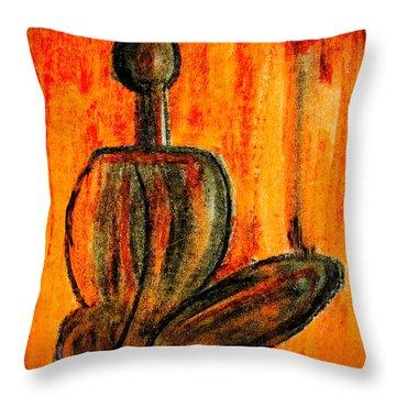 Seated Man Throw Pillow by Nirdesha Munasinghe