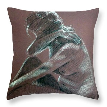 Seated Woman Side Light Throw Pillow