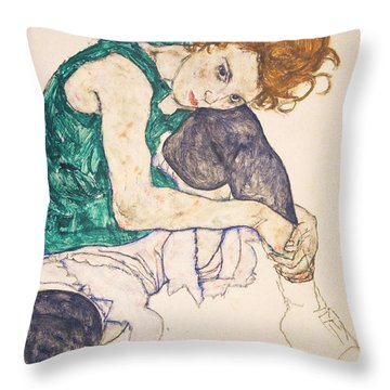 Seated Woman With Legs Drawn Up. Adele Herms Throw Pillow by Egon Schiele