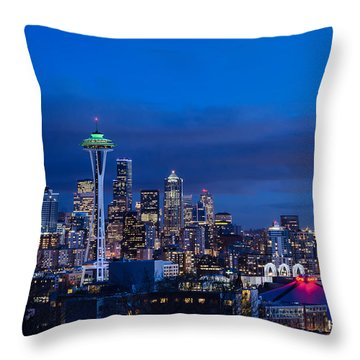 Throw Pillow featuring the photograph Seattle At Twilight by Eddie Yerkish