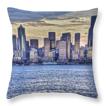 Seattle At Twilight From Alki Beach Throw Pillow