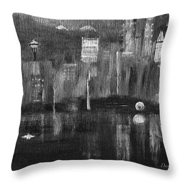 Seattle Black And White Throw Pillow
