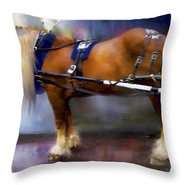 Throw Pillow featuring the digital art Seattle Carriage Horse by Kari Nanstad