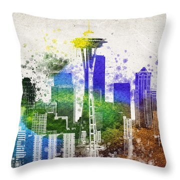 Seattle City Skyline Throw Pillow by Aged Pixel