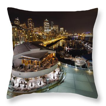 Throw Pillow featuring the photograph Seattle City Skyline And Marina At Night by JPLDesigns