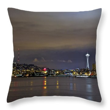 Seattle Cityscape At Night Throw Pillow