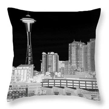 Seattle Cityscape - Bw Negative Throw Pillow by Connie Fox