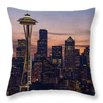 Seattle Cityscape Morning Light Throw Pillow by Mike Reid
