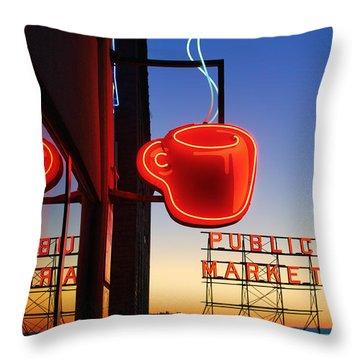 Seattle Coffee Throw Pillow