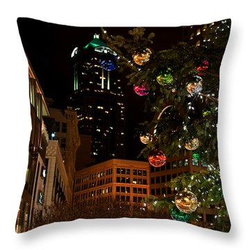 Seattle Downtown Christmas Time Art Prints Throw Pillow