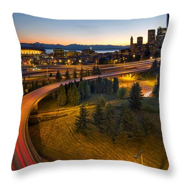 Throw Pillow featuring the photograph Seattle Downtown Highway Traffic Light Trails by JPLDesigns