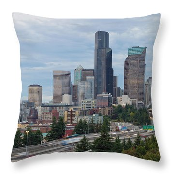 Throw Pillow featuring the photograph Seattle Downtown Skyline On A Cloudy Day by JPLDesigns