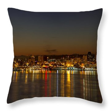 Throw Pillow featuring the photograph Seattle Downtown Skyline Reflection At Dawn by JPLDesigns