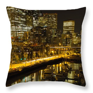 Throw Pillow featuring the photograph Seattle Downtown Waterfront Skyline At Night by JPLDesigns