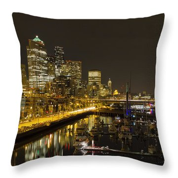 Throw Pillow featuring the photograph Seattle Downtown Waterfront Skyline At Night Reflection by JPLDesigns