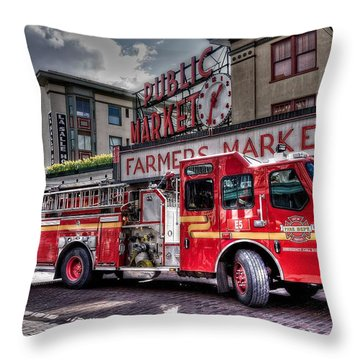 Seattle Fire Engine Throw Pillow