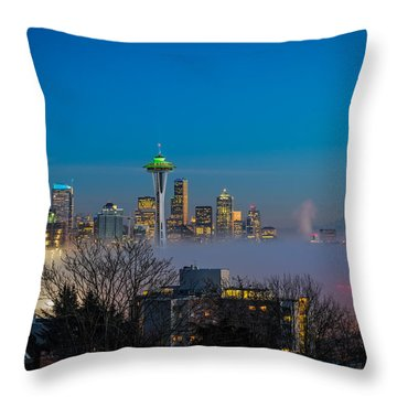 Seattle Foggy Nights Throw Pillow