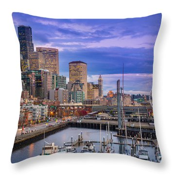 Seattle Great Wheel Throw Pillow by Inge Johnsson