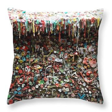 Throw Pillow featuring the photograph Seattle Gum Wall 3 by Ann Johndro-Collins