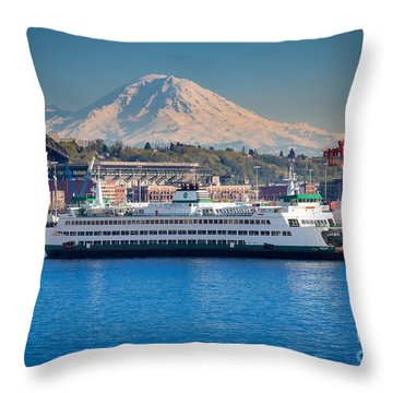 Seattle Harbor Throw Pillow by Inge Johnsson