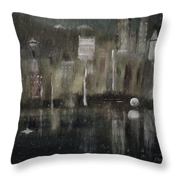 Seattle In The Rain Cityscape Throw Pillow