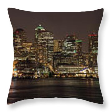 Seattle Lake Union Winter Reflection Throw Pillow by Mike Reid