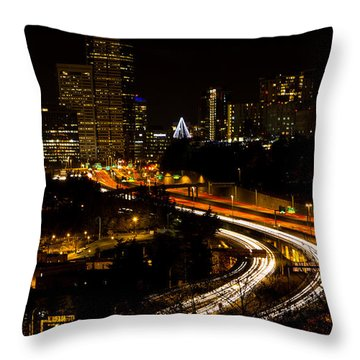 Seattle Light Trails Throw Pillow