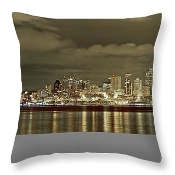 Seattle Lights At Night From Alki Throw Pillow