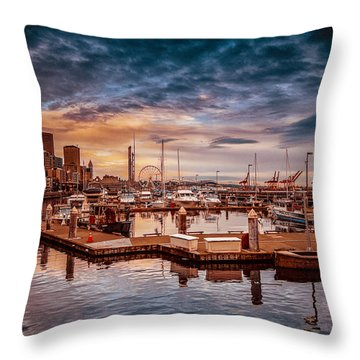 Seattle Marinescape. Throw Pillow