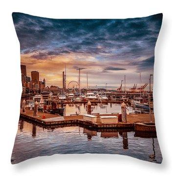 Seattle Marinescape. Throw Pillow by Eti Reid