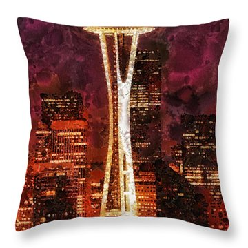 Seattle Throw Pillow by Mo T