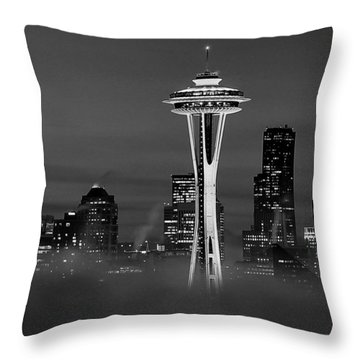 Seattle Morning Mist Black And White Throw Pillow by Benjamin Yeager