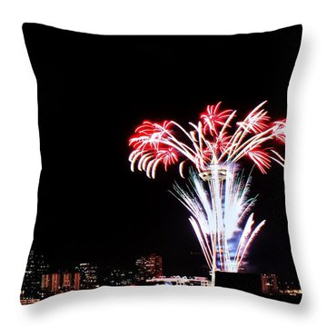 Seattle New Years Throw Pillow by Benjamin Yeager