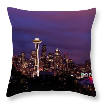 Seattle Night Throw Pillow by Chad Dutson