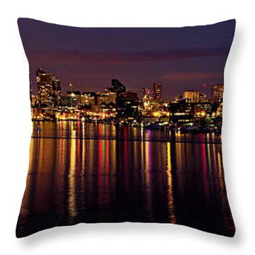 Seattle Night Reflections Throw Pillow