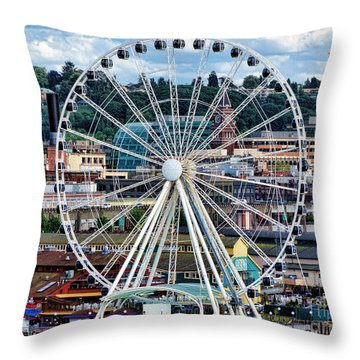 Seattle Port Ferris Wheel Throw Pillow