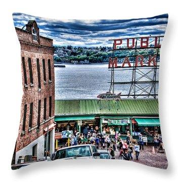 Seattle Public Market II Throw Pillow