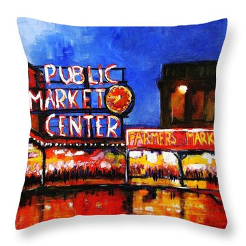 Seattle Public Market Throw Pillow