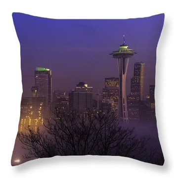 Throw Pillow featuring the photograph Seattle Purple Fog by Ken Stanback