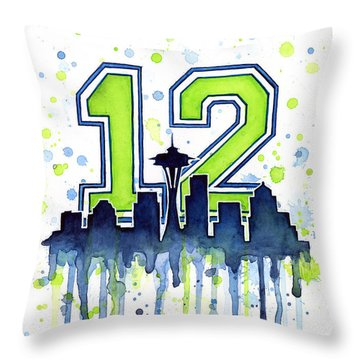 Seattle Seahawks 12th Man Art Throw Pillow by Olga Shvartsur