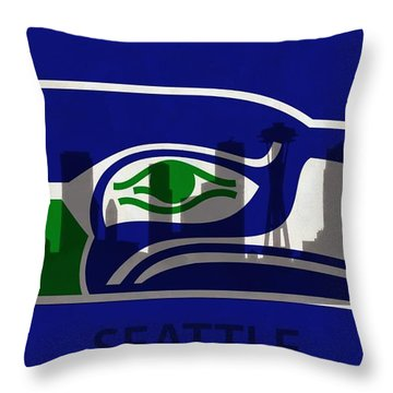 Seattle Seahawks On Seattle Skyline Throw Pillow by Dan Sproul