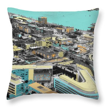Seattle Sky View In Abstract Throw Pillow