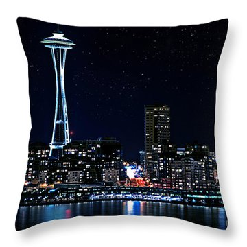 Seattle Skyline At Night With Full Moon Throw Pillow