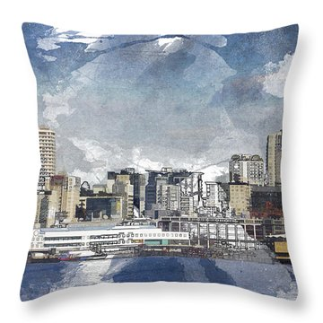Seattle Skyline Freeform Throw Pillow
