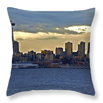 Seattle Skyline In Twilight Throw Pillow
