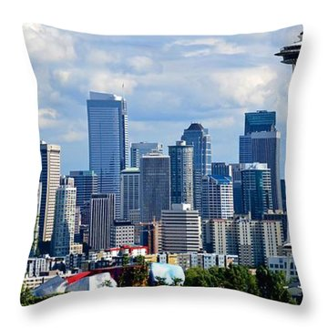 Seattle Skyline Panorama Throw Pillow